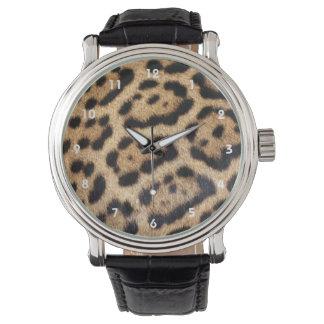 ジャガーの毛皮の写真のプリント 腕時計