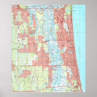 ジャクソンビルのビーチおよびビーチのフロリダの大西洋の地図 ポスター