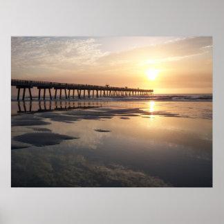ジャクソンビルのビーチの日の出-桟橋 ポスター