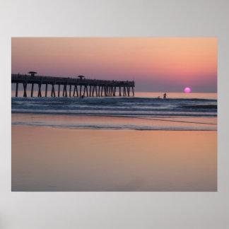 ジャクソンビルのビーチ、フロリダの日の出ポスター ポスター