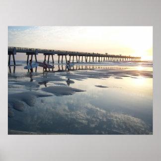 ジャクソンビルのビーチ、フロリダ-サーファーの日の出 プリント