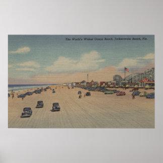 ジャクソンビルのビーチ、FL -世界で最も広いOcea ポスター