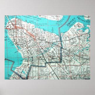 ジャクソンビルのFLのヴィンテージの地図ポスター プリント