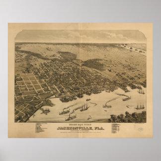 ジャクソンビルフロリダ1876のパノラマ式の地図 ポスター