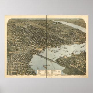 ジャクソンビルフロリダ1893のパノラマ式の地図 ポスター