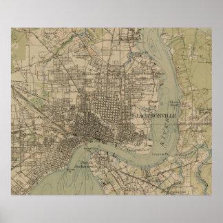 ジャクソンビルフロリダ(1917年)のヴィンテージの地図 ポスター