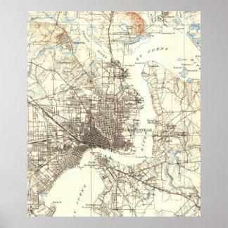 ジャクソンビルフロリダ(1918年)のヴィンテージの地図 ポスター