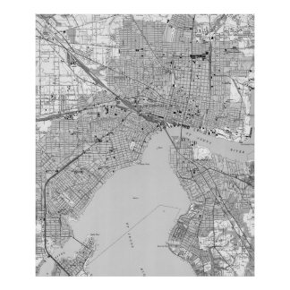 ジャクソンビルフロリダ(1950年の) BWのヴィンテージの地図 ポスター