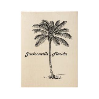 ジャクソンビル及びやし白黒デザイン ウッドポスター