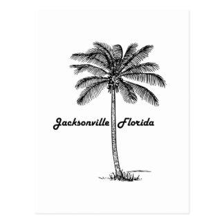 ジャクソンビル及びやし白黒デザイン ポストカード