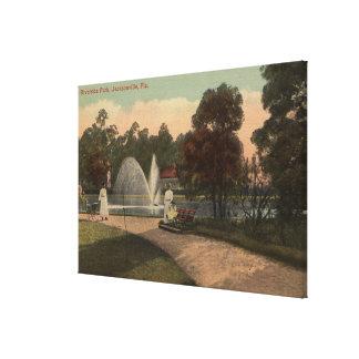 ジャクソンビル、FL -川岸の眺め キャンバスプリント