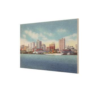 ジャクソンビル、FL -水前部及びスカイラインの眺め キャンバスプリント