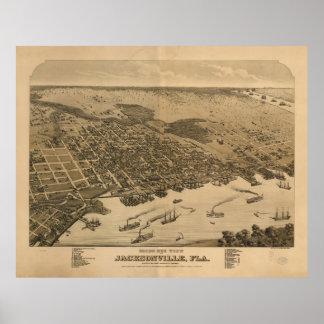 ジャクソンビルFL (1874年)のヴィンテージの絵解き地図 ポスター