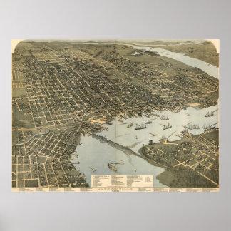 ジャクソンビルFL (1893年)のヴィンテージの絵解き地図 ポスター
