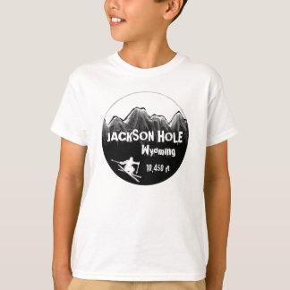 ジャクソンホールワイオミングのオレンジスキー芸術の男の子のティー Tシャツ