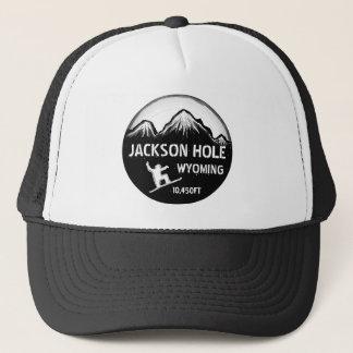 ジャクソンホールワイオミングの白黒のスノーボードの芸術の帽子 キャップ