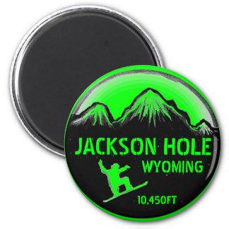 ジャクソンホールワイオミングの緑のスノーボードの芸術の磁石 マグネット