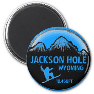 ジャクソンホールワイオミングの青いスノーボードの芸術の磁石 マグネット