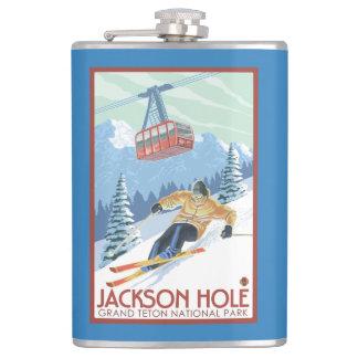 ジャクソンホール、ワイオミングのスキーヤーおよび市街電車 フラスク