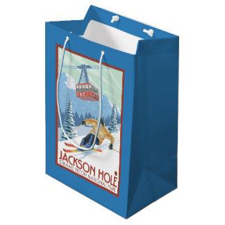 ジャクソンホール、ワイオミングのスキーヤーおよび市街電車 ミディアムペーパーバッグ