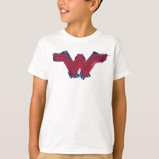 ジャスティス・リーグの|ブラシをかけられたワンダーウーマンの記号 Tシャツ