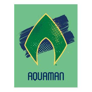 ジャスティス・リーグ|のブラシ及びAquamanのハーフトーンの記号 ポストカード
