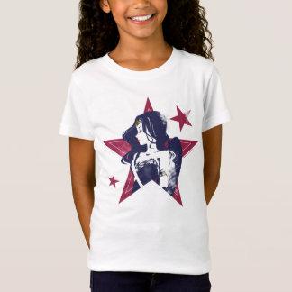 ジャスティス・リーグ|のワンダーウーマン及び星のポップアート Tシャツ