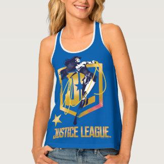ジャスティス・リーグ|のワンダーウーマンJLのロゴのポップアート タンクトップ