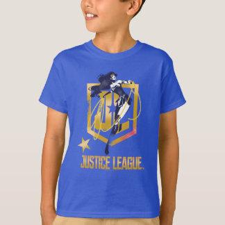 ジャスティス・リーグ|のワンダーウーマンJLのロゴのポップアート Tシャツ