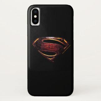ジャスティス・リーグ|の金属スーパーマンの記号 iPhone X ケース