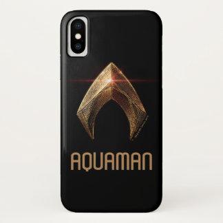 ジャスティス・リーグ|金属Aquamanの記号 iPhone X ケース
