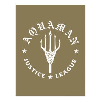 ジャスティス・リーグ| Aquamanのレトロの三叉の矛の紋章 ポストカード