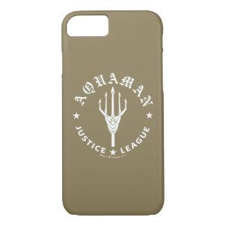 ジャスティス・リーグ| Aquamanのレトロの三叉の矛の紋章 iPhone 8/7ケース