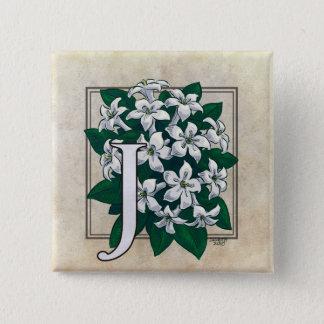 ジャスミンの花のモノグラムのためのJ 5.1CM 正方形バッジ