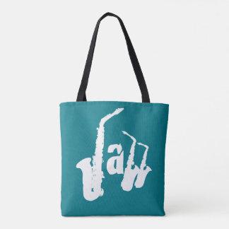 ジャズサクソフォーンはあなたの色の背景のバッグ2を選びます トートバッグ