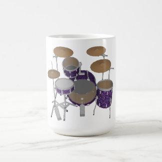 ジャズドラムキット: 置かれるカスタムなすみれ色のドラム: コーヒー・マグ コーヒーマグカップ