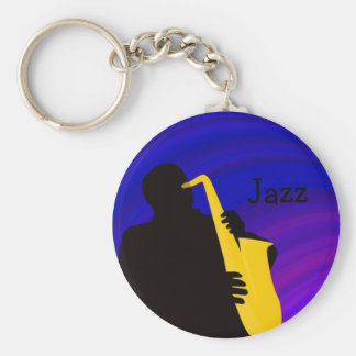 ジャズプレーヤー、青及び紫色のシルエット キーホルダー