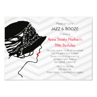 ジャズ及び酒宴の素晴らしいGatsbyの誕生日の招待状 カード