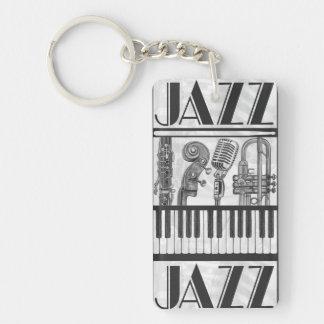 ジャズ音楽の楽器白黒Keychain 長方形(両面)アクリル製キーホルダー