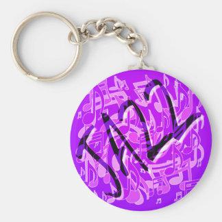 ジャズ音楽の紫色のすみれ色の音楽的なパターン キーホルダー