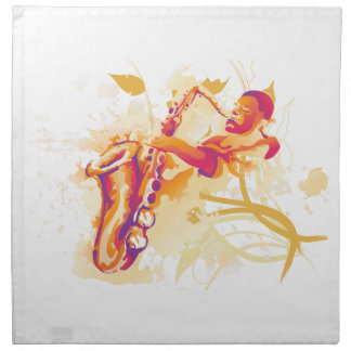 ジャズ風のサクソフォーンの水彩画のスタイルを遊んでいる人 ナプキンクロス
