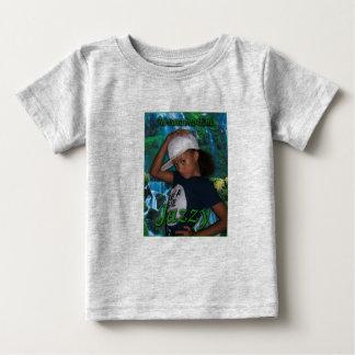 ジャズ風Nevaの分隊ジャズ風の緑の背部… -カスタマイズ ベビーTシャツ