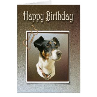 ジャッキのラッセル犬が付いているハッピーバースデーの挨拶状 カード