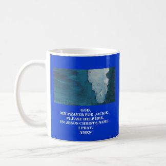 ジャッキー(あなたの文字)のための私の祈りの言葉 コーヒーマグカップ