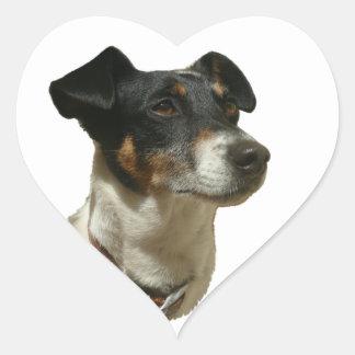 ジャックかわいいラッセル犬 ハートシール
