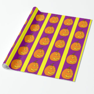 ジャックのoのランタンの紫色のストライプな包装紙 ラッピングペーパー