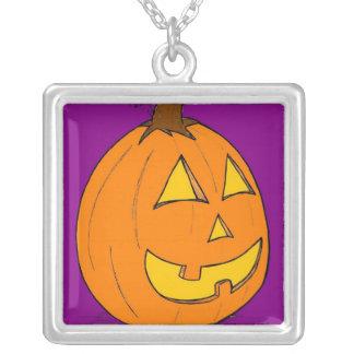 ジャックのoのランタンの紫色のネックレスのペンダント シルバープレートネックレス