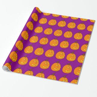 ジャックのoのランタンの紫色の包装紙 ラッピングペーパー
