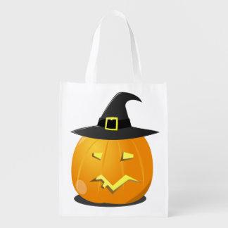 ジャックのoのランタンの魔法使いが付いているハロウィンの再使用可能なバッグ エコバッグ