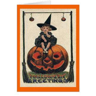 ジャックのo'Lanternカードのヴィンテージのハロウィンの女の子 カード